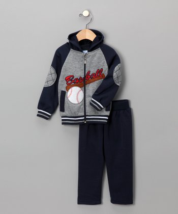Gray & Navy Zip-Up Hoodie & Pants