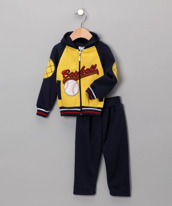 Yellow & Navy Zip-Up Hoodie & Pants - Infant & Toddler