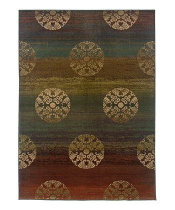 Rust Ornate Globes Rug