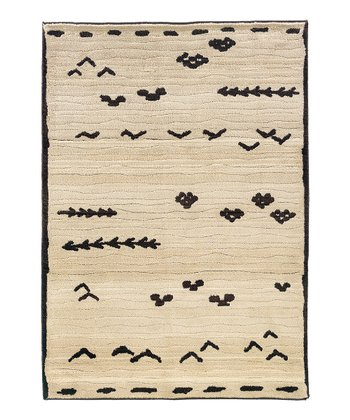 Ivory & Black Abstract Arrows Rug