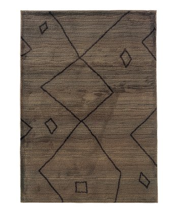 Brown & Black Square & Zigzag Rug