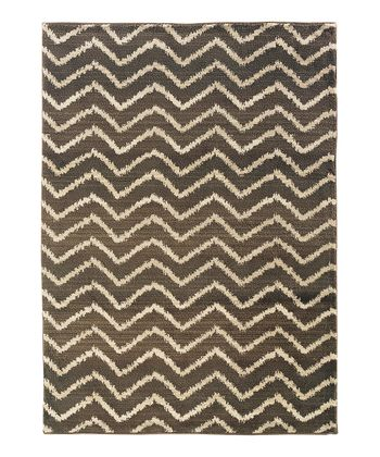 Brown & Ivory Zigzag Rug