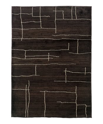 Brown & Ivory Abstract Lines Rug