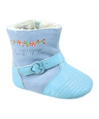 Light Blue Heart Buckle Boot
