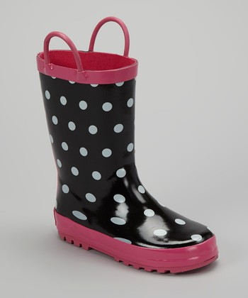 Black & White Polka Dot Rain Boot