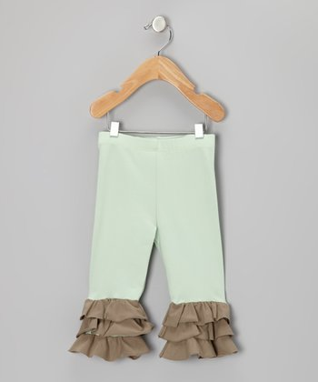 Chocolate & Mint Julep Triple Ruffle Cropped Leggings - Girls