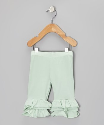 Mint Julep Triple Ruffle Cropped Leggings - Girls
