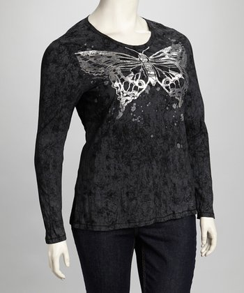 Black Butterfly Top - Plus