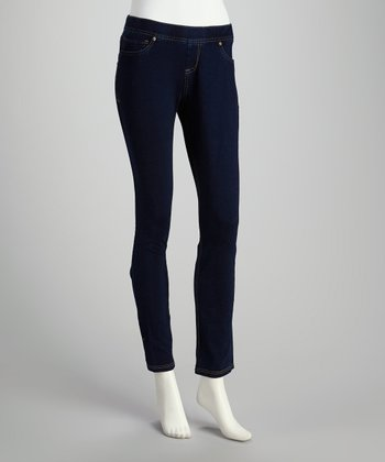 Blue Denim Drawstring Jeggings