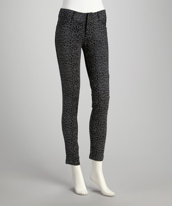 Gray Leopard Five-Pocket Ponte Pants