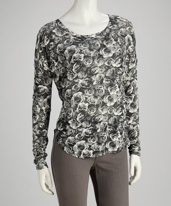 Black & White Rose Long-Sleeve Top