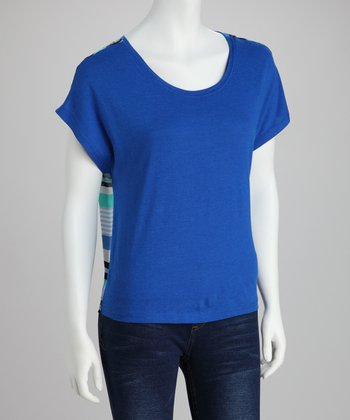 Blue Tie-Knot Cap-Sleeve Top
