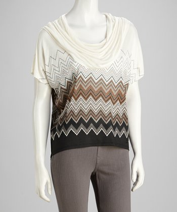 Black & White Zigzag Cowl Neck Top - Petite