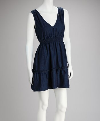 Dark Blue Surplice V-Neck Dress