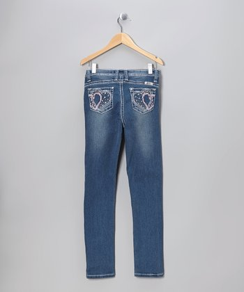 Light Wash Heart Skinny Jeans - Girls