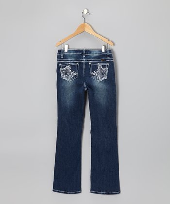 Medium Wash Star Bootcut Jeans - Girls