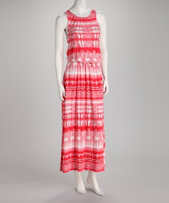 Punch Tie-Waist Maxi Dress
