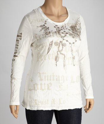 Winter White Embellished Long-Sleeve Top - Plus