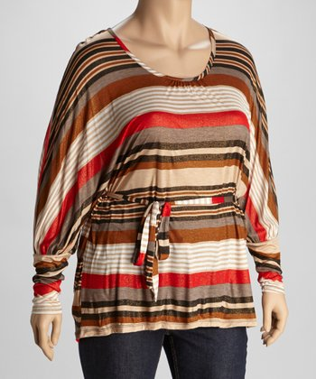Sunset Red Stripe Top - Plus