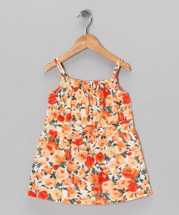 Orange Floral Smocked Top - Infant & Girls