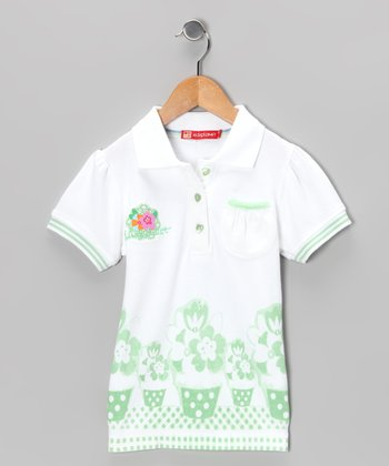 White & Green Flower Polo - Infant, Toddler & Girls