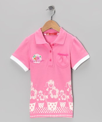 Pink Flower Polo - Toddler & Girls