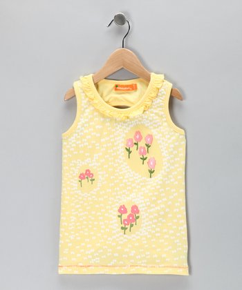 Yellow Floral Ruffle Top - Toddler & Girls