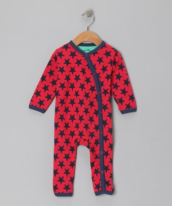 Red & Navy Star Cody Playsuit - Infant