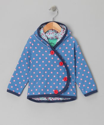 Azure & Pink Floral & Polka Dot Dotty Hoodie - Infant