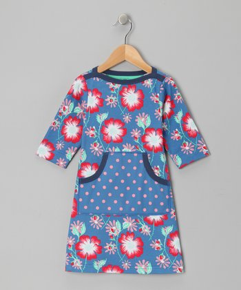 Azure Floral Lotty Dress - Toddler & Girls