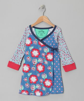 Azure Polka Dot & Floral Wrap Dress - Toddler & Girls