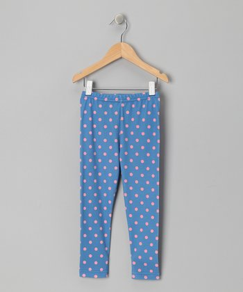 Azure & Pink Polka Dot Miriam Leggings - Toddler & Girls