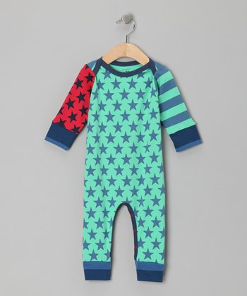 Green Stripe & Star Ray Playsuit - Infant