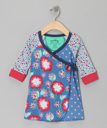 Azure Floral Wendy Wrap Dress - Infant