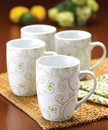 Green Curly-Q Mug - Set of Four