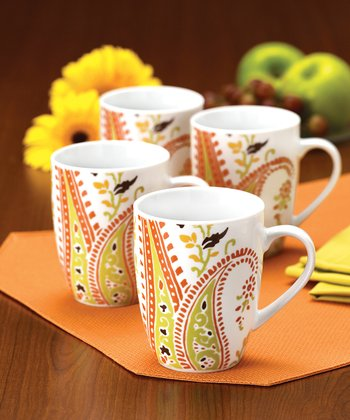 Orange Paisley 11-Oz. Mug - Set of 4