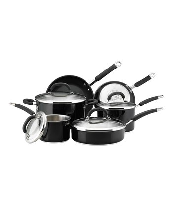 Black 10-Piece Cookware Set