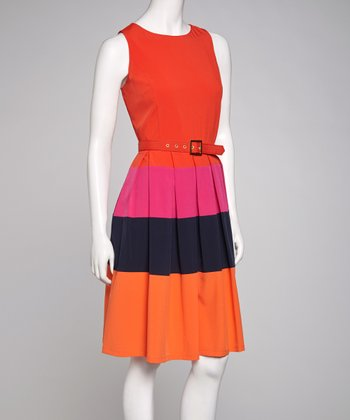 Poppy & Black Belted Sleeveless Dress
