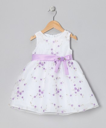 White & Lilac Rose Dress - Infant, Toddler & Girls