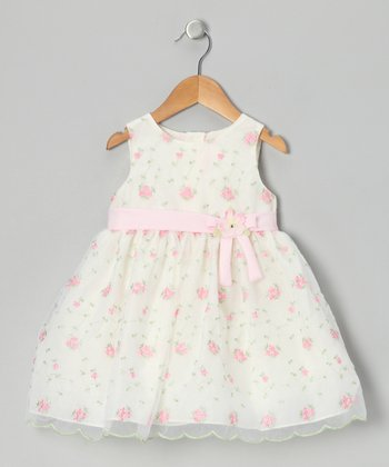 Ivory & Pink Rose Dress - Infant, Toddler & Girls