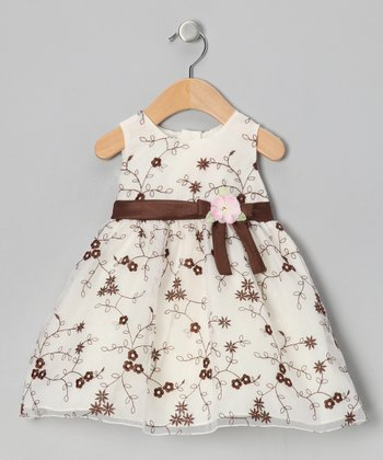 White & Brown Rose Embroidered Dress - Infant, Toddler & Girls