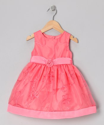 Coral Floral Ribbon Dress - Infant, Toddler & Girls
