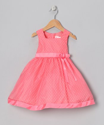 Coral Polka Dot Dress - Infant, Toddler & Girls