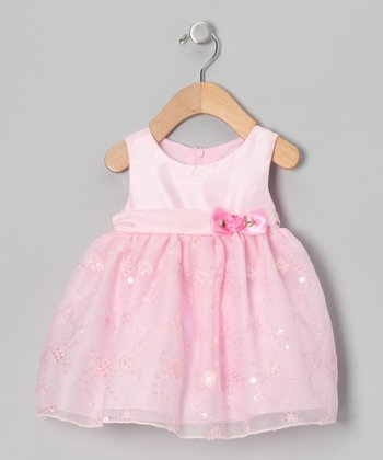 Pink Sequin Floral Dress - Infant, Toddler & Girls