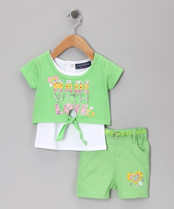 Green 'Made With Love' Top & Shorts - Infant, Toddler & Girls