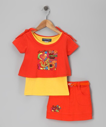 Orange & Yellow Heart Top & Skirt - Infant & Girls