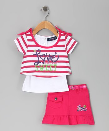 Fuchsia Stripe 'Love' Layered Top & Skirt - Infant & Girls