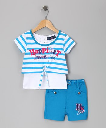 Blue Stripe 'Happiest' Top & Shorts - Toddler & Girls