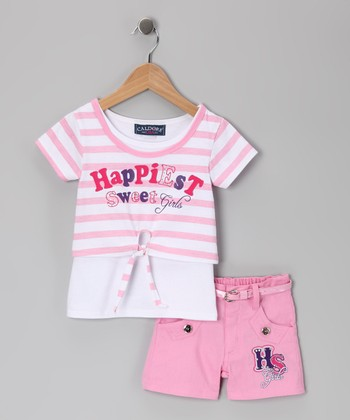 Pink Stripe 'Happiest' Top & Shorts - Toddler & Girls