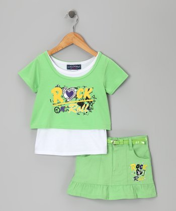 Green 'Rock 'n' Roll' Top & Skirt - Infant, Toddler & Girls